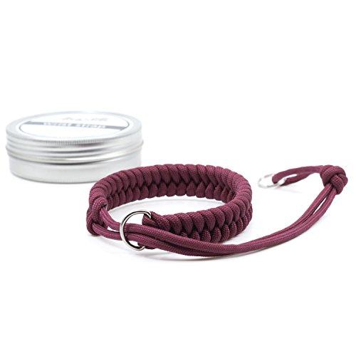 Amolith® Kamera-Handschlaufe aus Paracord | Farbe: Maroon | Flechtmuster: Fishtail | Handgelenkschlaufe Kameraschlaufe Kameraband Trageschlaufe | AML-8391