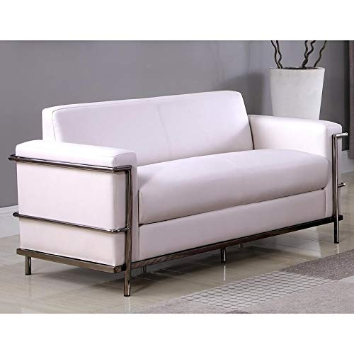 Best Master Furniture Helix Modern Loveseat Off-White