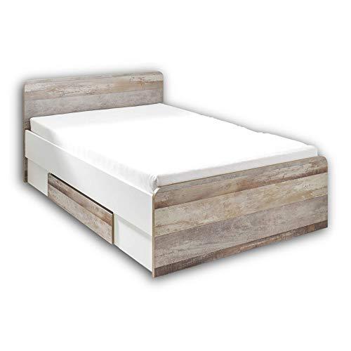 Stella Trading MOON Stilvolles Einzelbett 140 x 200 cm mit Bettkasten - Komfortables Jugendzimmer Bett in Driftwood-Optik, weiß - 146 x 89 x 205 cm (B/H/T)