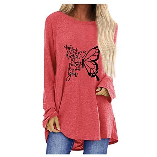 Eaylis Blusa Holgada con Cuello Redondo y Estampado a Cuadros de Mariposa Informal de Moda para Mujer Elegante Bohemio Algodón Casual Vestido Suelto Largo Playa Lunares Cuello redondoXXXLmujer