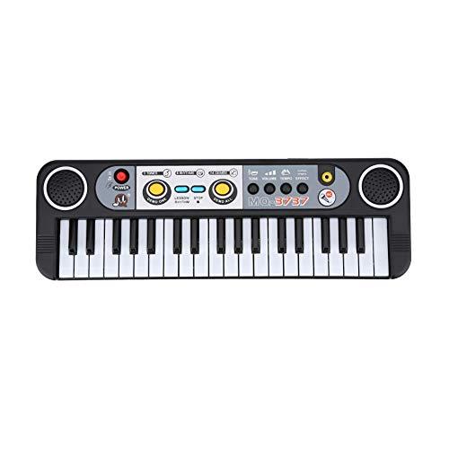 Piano multifunción de 37 teclas, órgano electrónico para niños con micrófono adaptador para juguete de teclado de enseñanza musical