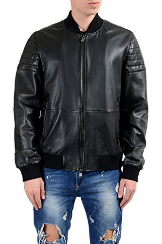 "Hugo Boss ""Mervon_1"" Men's 100% Leather Black Full Zip Jacket US XL IT 54"