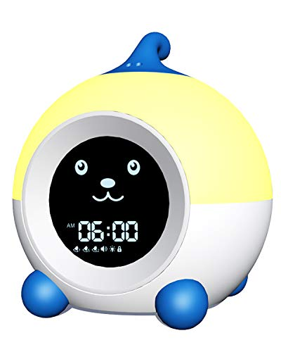 Teach Me Time Kids Alarm Clock, Children's Sleep Trainer ,Toddler Sleep Aid Night Light with Infrared Induction,11 Soothing Sounds,,3 Alarms,Sleep Timer (Capri Blue)