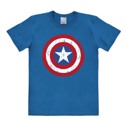Logoshirt - Camiseta de Capitán América con Cuello Redondo de Manga Corta para Hombre, Talla 37/38, Color Azul (Azure Blue)