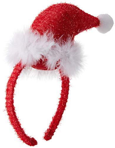 Smiffys Mini bonnet de Père Noël, Rouge, sur un bandeau