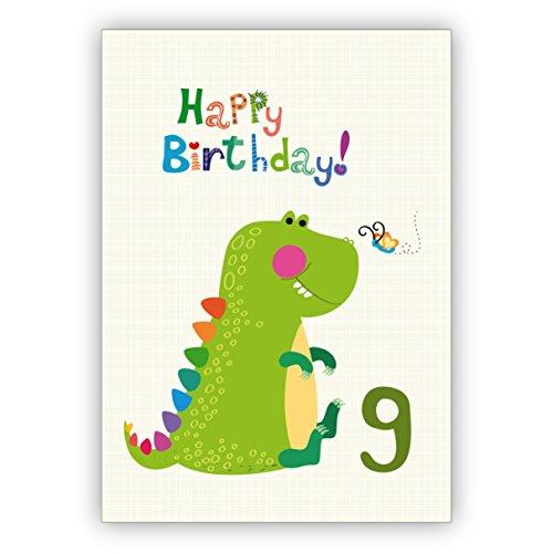 Leuke kinderen felicitatie als verjaardagskaart voor de 9e verjaardag met dino en vlinder: Happy Birthday • mooie felicitatie cadeaukaarten met enveloppen zakelijk & privé 4 Grußkarten