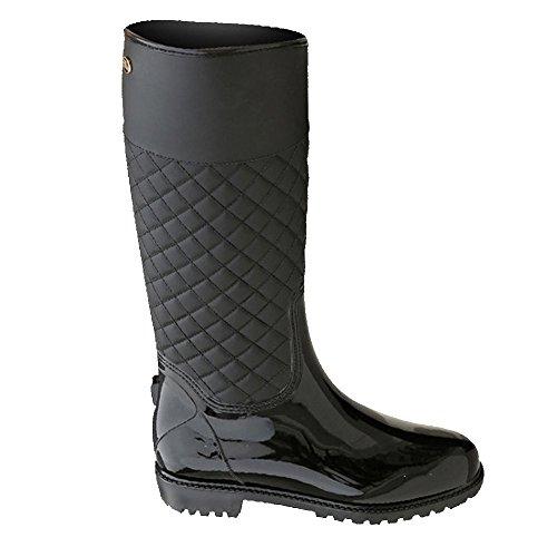 LaoZan Mujeres Botas de Lluvia Impermeable y Cálido para Otoño e invierno - Negro - 38?Largo del pie 23.1 - 23.5 CM)