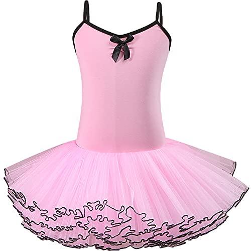 ZRFNFMA Tanzen Kleidung Kinderschlingballett Rock Mädchen 'Tanzkleidung Kinder Praxis Kleidung Sling Gymnastik Kleid pink-140cm