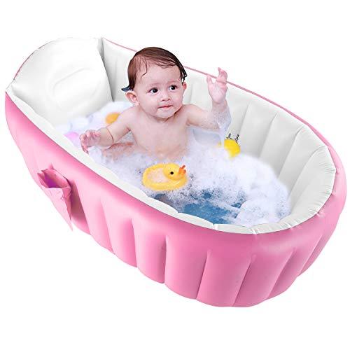 iFCOW Baby Opblaasbare Badkuip Draagbare Kinderen Opvouwbare Zwembad Douche Basin voor 0-3 Baby roze