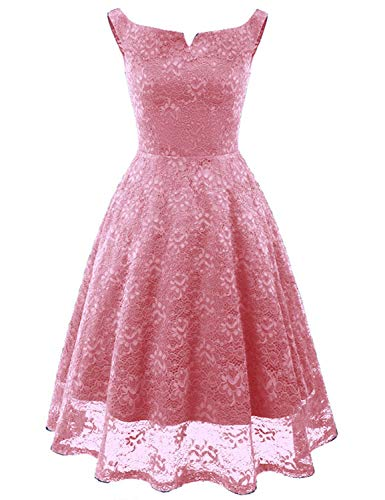 Uther Ladies Off Shoulder Cocktail Wedding Party Formal Floral Lace Bridesmaid Dress Pink M