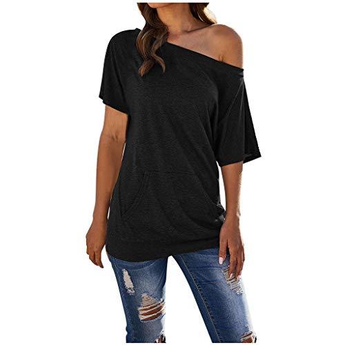 KEERADS Damen Schulterfrei Oberteil Elegant Bluse Sommer Carmen Sexy Trägerlos Oversize Top T-Shirts mit Tasche