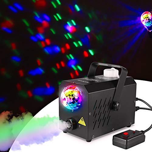 MVPower Machine à Fumée,avec des Lumières de Boule Magique, avec 2 Filaires et Télécommande Sans Fil et Réservoir 750ml,Idéal pour les Fêtes,les Discos DJ,les Bars,les Mariages,Noël et Halloween