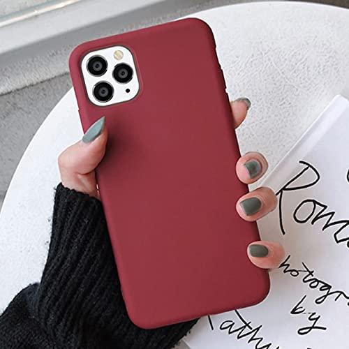 TFE Caja del Teléfono De Silicona De Color Caramelo para iPhone 11 Pro MAX XR X XS 6 6S 7 8 Plus Se 2020 Cubierta Trasera Suave Mate Suave para iPhone X Rojo Vino