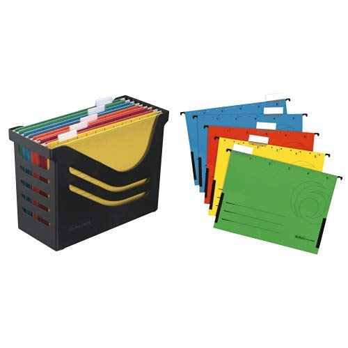 Re-Solution Office Box, Jalema 2658026998, Hängeregister inklusiv 5 Hängemappen A4, farbig sortiert, schwarz & Herlitz 5874755 Hängetasche farbig sortiert 5er Packung