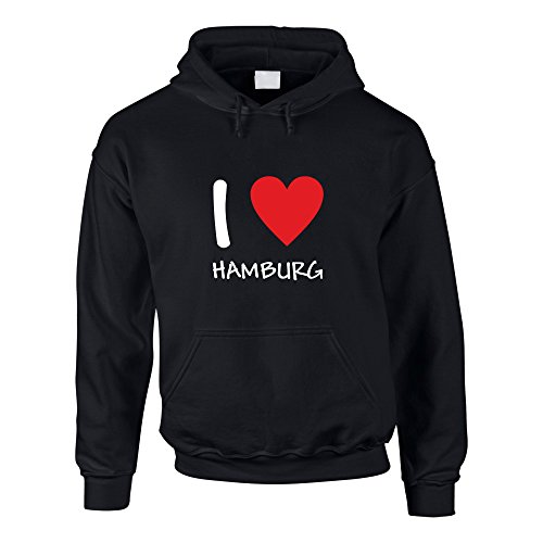 shirtdepartment Hoodie I Love Hamburg Kaputzenpullover St. Pauli Reeperbahn HH Kiez Hafen, XS, schwarz