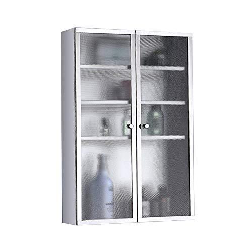 DYecHenG Badezimmer Wandschrank Edelstahl-Wandhalterung Lagerschrank Ideal for Home Küche Wäscherei Medizin-Schrank für Wohnzimmer oder Küche (Color : Silver, Size : 40x60x20CM)