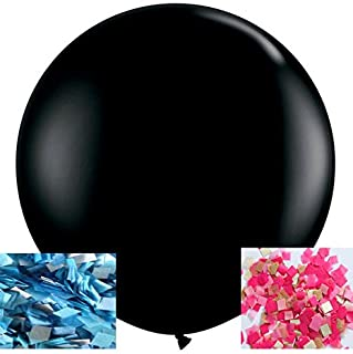 FONBALLOON PARTY 2PCS Giant 36'' Black Round Gender Reveal Balloon Pop with Pink and Blue Confetti for a Baby Shower
