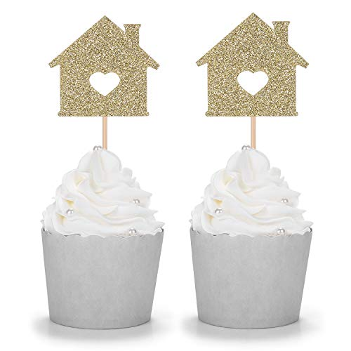 Set of 24 Gold Glitter House Cupcake Topper/Housewarming/Welcome New Home Party Decorations