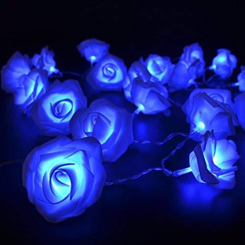 ledmomo 20LEDs Rose Blume Lichterkette Batteriebetrieben für Valentinstag Weihnachten Hochzeit Geburtstag Party Schlafzimmer, innen-Dekoration (blau)