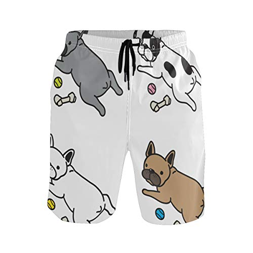 Mens Swim Trunks Quick Dry Christmas Santa Claus Dog Board Shorts with Pocket Beach Shorts for Pool