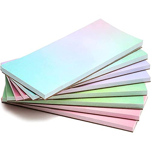 Watercolor Sticky Notes, to Do List Notepads (5.5 x 2.35 in, 50 Sheets Per Pad, 8-Pack)