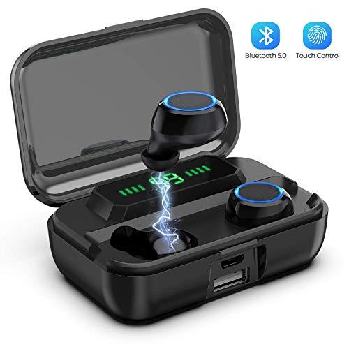 Hoseili Bluetooth Kopfhörer In Ear Kopfhörer Kabellos mit 120 Stunden Spielzeit, Wireless Kopfhörer Sport Ohrhörer, Stereo Deep Bass,Touch-Control, Stereoanrufe, Battery LED Display-M12