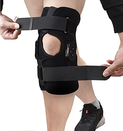 OneBrace Hinged Knee Brace Support - Adjustable Knee Immobilizer Support - Men & Women Leg Stabilizer for ACL/PCL Injuries, Tendon, Patella, Ligament & Meniscus Tear Injuries(Pack of 1)