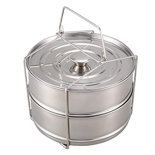 Vaorwne Pressure Pot Accessories,Stackable Steamer Insert Pans Pot for 5 Litres or More Pot Accessories-2 Tier,with 1 Lids&Sling