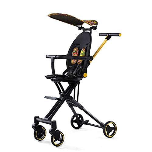 New Lcb Baby Carriage Baby Stroller, high-View Baby Stroller, one-Click Storage, Light and Portable, Foldable and can be Put on The Plane with Awning (Color : Yellow)