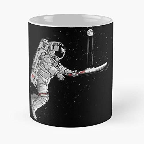Space Cricket Taza de café de cerámica blanca de 11 oz para hombres, mujeres, niños y niñas.