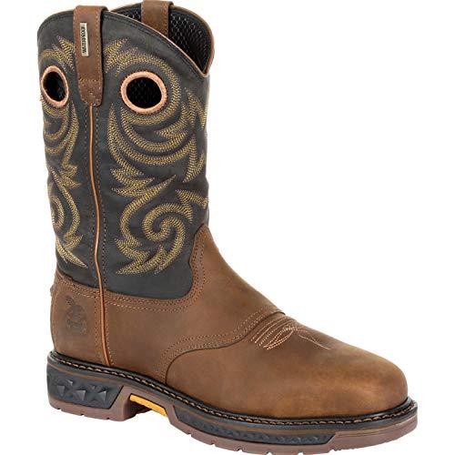 Georgia Boot Carbo-Tec LT Steel Toe Waterproof Pull On Work Boot Size 11(M) Black and Brown