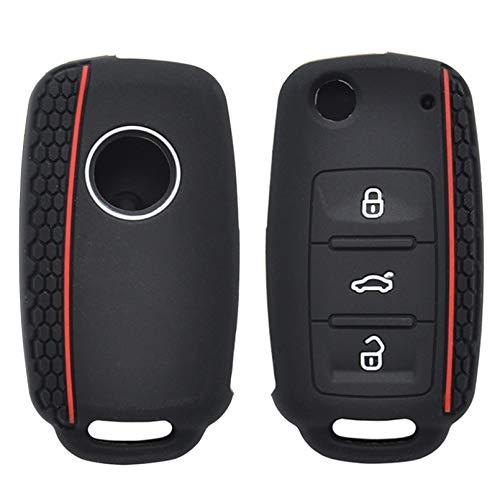 FHMMKL Funda de Silicona para Llave de Coche para VW Polo Bora Beetle Tiguan Passat Golf Jetta EOS para Skoda Fabia Octavia Remote Fob Shell Cover