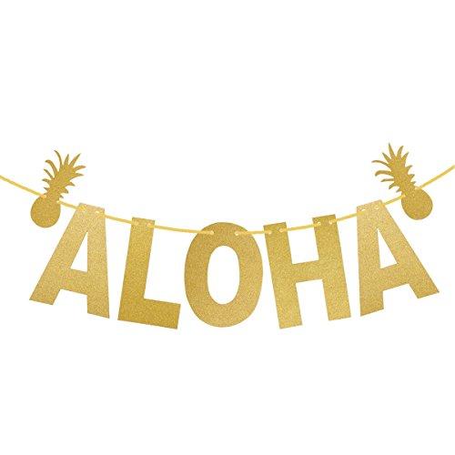 LUOEM Hawaiian ALOHA Banner Garland Long Pineapple Glitter Pendant Luau Theme Party Signs Decoration (Gold)