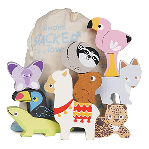 Le Toy Van - Educational Andes Wooden Animal Stacking Tower Toys And Bag  ...