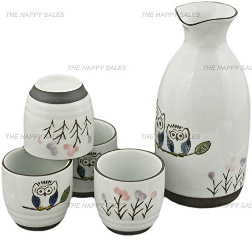Happy Sales HASS-OWL17,  Porcelain Sake Set Owls