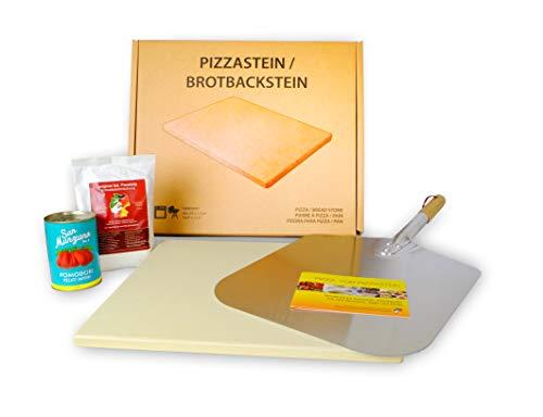 Pizzastein Geschenkset 'Neapolitana' inkl. Metallschaufel, Pizzamehl und San Marzano Tomaten
