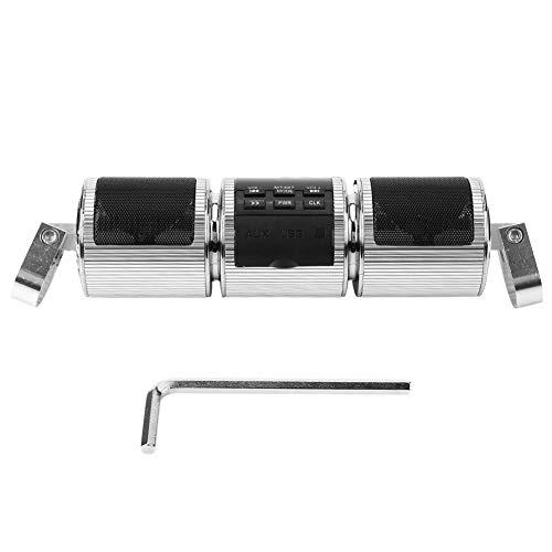 Radio per moto   Supporto per manubrio per moto Amplificatore o Bluetooth Altoparlante stereo Supporto MP3 USB/TF Card - Altoparlanti per moto(Silver)