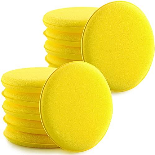 ITNP 12 Piezas Almohadillas Aplicadoras de Cera de Coches,Aplicador de Esponja de Microfibra,Esponja de Coche,para Pulir para Coches Vehículo Vidrio Limpio