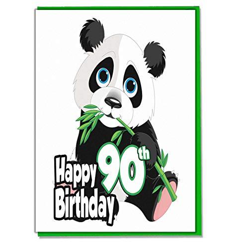 Panda 90e verjaardagskaart - Dames - Heren - Dochter - Zoon - Vriend - Echtgenoot - Vrouw - Broer - Zuster - Moeder - Papa