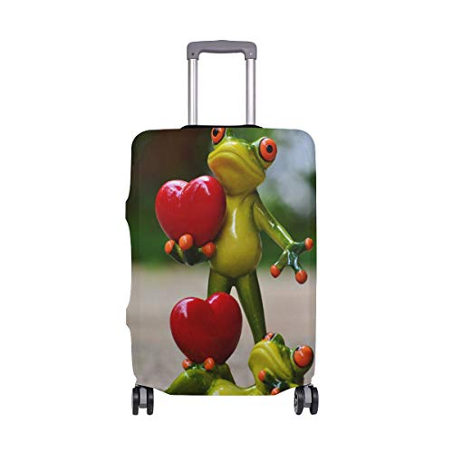 ALINLO The Hearted-Shaped Love with Cute Frog Luggage Cover Baggage Suitcase Travel Protector Fit for 18-32 Inch