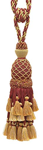 Lavish Burgundy Red, Gold Large Curtain & Drapery Tassel Tieback / Large 11 inch tassel, 34 inch Spread(embrace), 7/16 inch Cord, Imperial II Collection Style# TBIL-1 Color: BURGUNDY GOLD - 1253