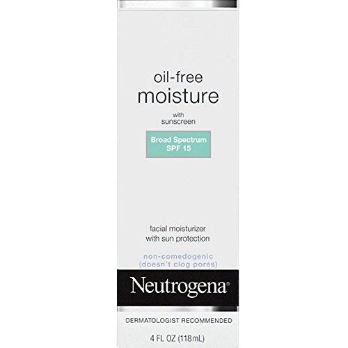 Neutrogena Oil Free Daily Long Lasting Facial Moisturizer & Neck Cream - Non Greasy, Oil Free Moisturizer Won't Clog Pores - SPF 15 Sunscreen & Glycerin, 4 fl. oz (Pack of 2)