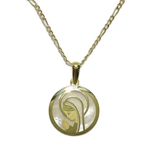 Never Say Never Medalla de la Virgen Niña Nácar y Oro Amarillo 18 Quilates Joyería Religiosa | Diseño Italiano | Regalo Católico para Bautizo, Comunión, Regalo para niñas