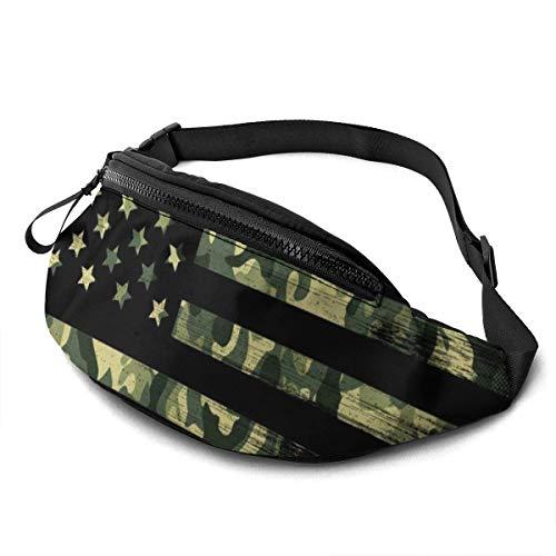 PULLA Riñonera Deportivo Bolso Cintura Cinturón Ajustable Running Belt Bolsa de Correr Bandera de EE.UU