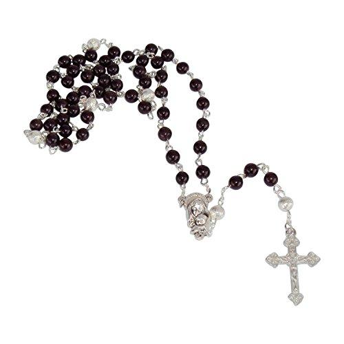 Zinngeschenke Rosenkranz aus echtem dunkelrotem Granat mit 59 Perlen in Handarbeit gekettelt Länge 49 cm