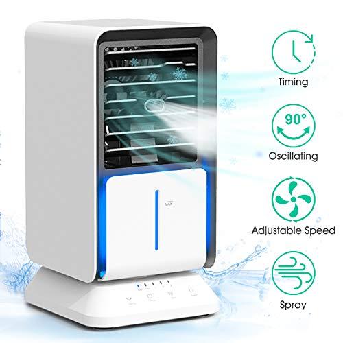 DOUHE Mobiles Klimagerät Luftkühler Mini Klimaanlage Klein, 3 in 1 Verdunstungskühler, Ventilator Persönlich Air Cooler, mit Timer, 3 Stufen, Sprühfunktion, 320ML Wassertank, Geeignet für Büro