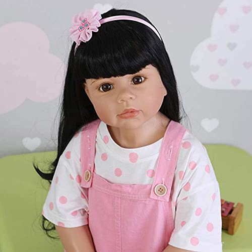 Simulación Reborn Toddler Silicona Vinilo Chica con Largo Cabello Negro 38 Pulgadas 98 cm Modelo de Ropa para niños Niños Adultos Acompañar a la muñeca