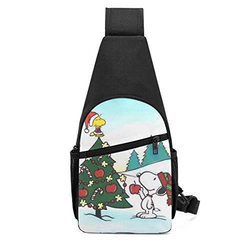 Trista Bauer Christmas Sn-oopy Sling Bag/Crossbody Mochila de Pecho/Bolsos de Hombro para Hombres Mujeres Viajes Senderismo Ciclismo Mochila Informal