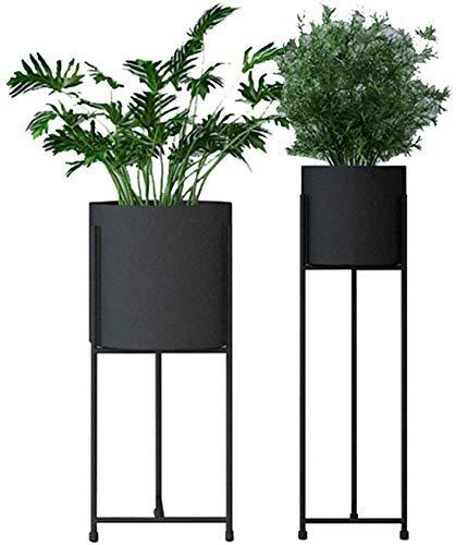 Stand Flower Stand Indoor / Outdoor Plant Plant Pot Pot Shood Rotel Soggiorno Balcone Decorazione Fiore Stand Erba Bonsai Scaffali Rack Iron Art Supporto Art Pluorescente Set di 2 ( Color : Black )
