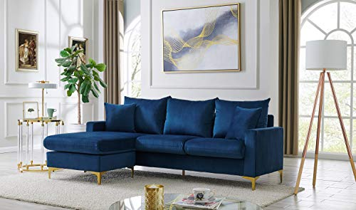 Iconic Home Queenstown Modular Chaise Sectional Sofa Velvet Upholstered Solid Gold Tone Metal Y-Legs with 2 Throw Pillows Modern Contemporary, Navy
